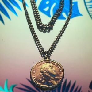 2 part gold necklace, 1 chain and coin charm
